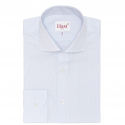 CHEMISE EXTRA-AJUSTEE FAUX UNIS RAYEE BLEU CLAIR