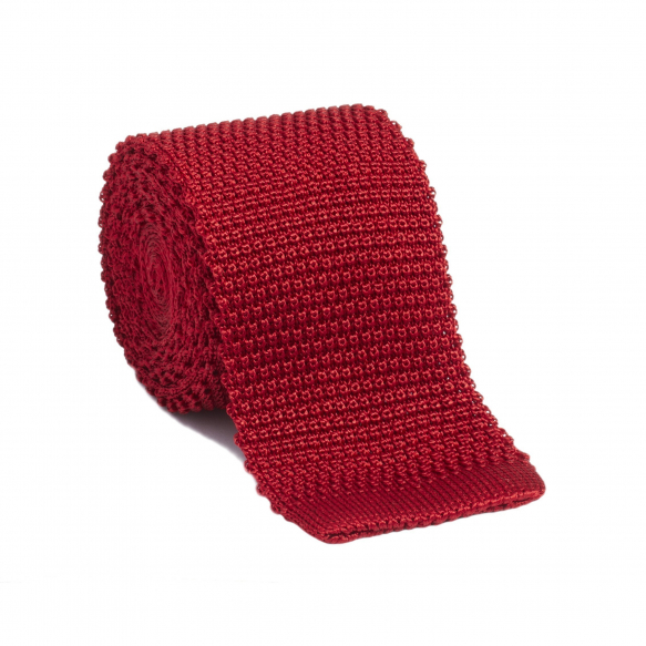 CRAVATE ROUGE EN MAILLE