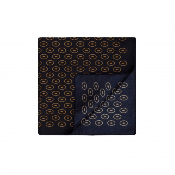 Blue Pocket-Square with Ochre Designs