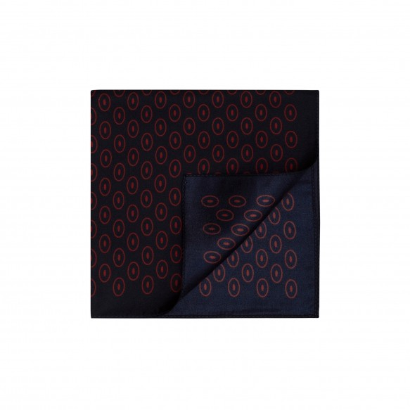 BLUE POCKET-SQUARE WITH RED DESIGN