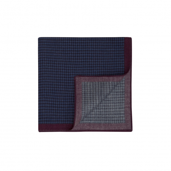 NAVY HOUNDSTOOTH PATTERN POCKET-SQUARE