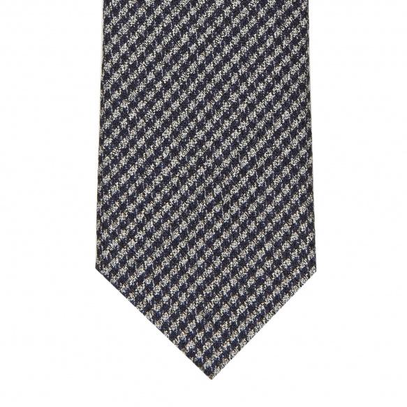 Cravate Pied de Poule Grise et Bleue