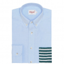 BLUE GREEN STRIPE POCKET CASUAL SHIRT