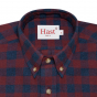 DARK-RED AND BLUE CHECK FLANNEL SHIRT