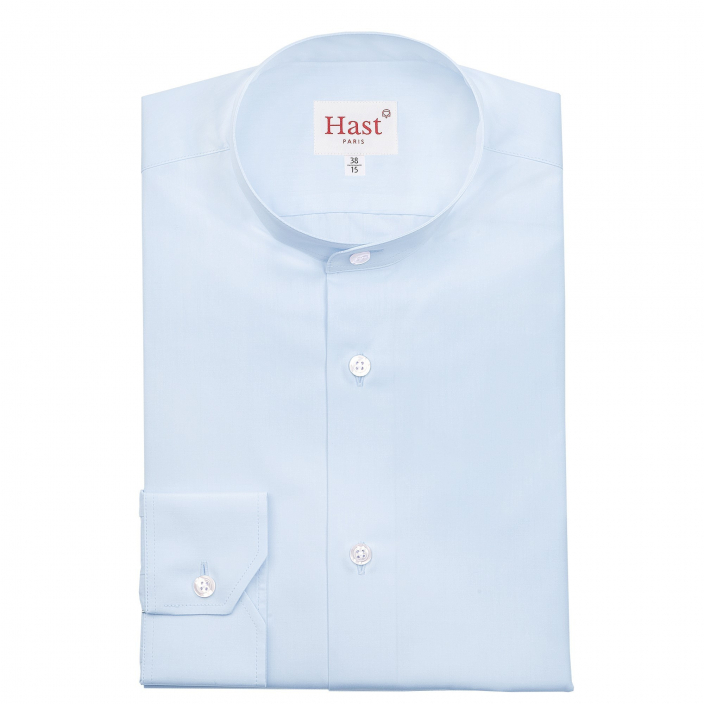 LIGHT BLUE SHIRT WITH STAND UP COLLAR