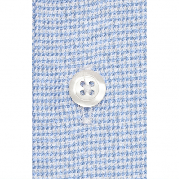 Extra-slim hound's tooth blue shirt with french collar