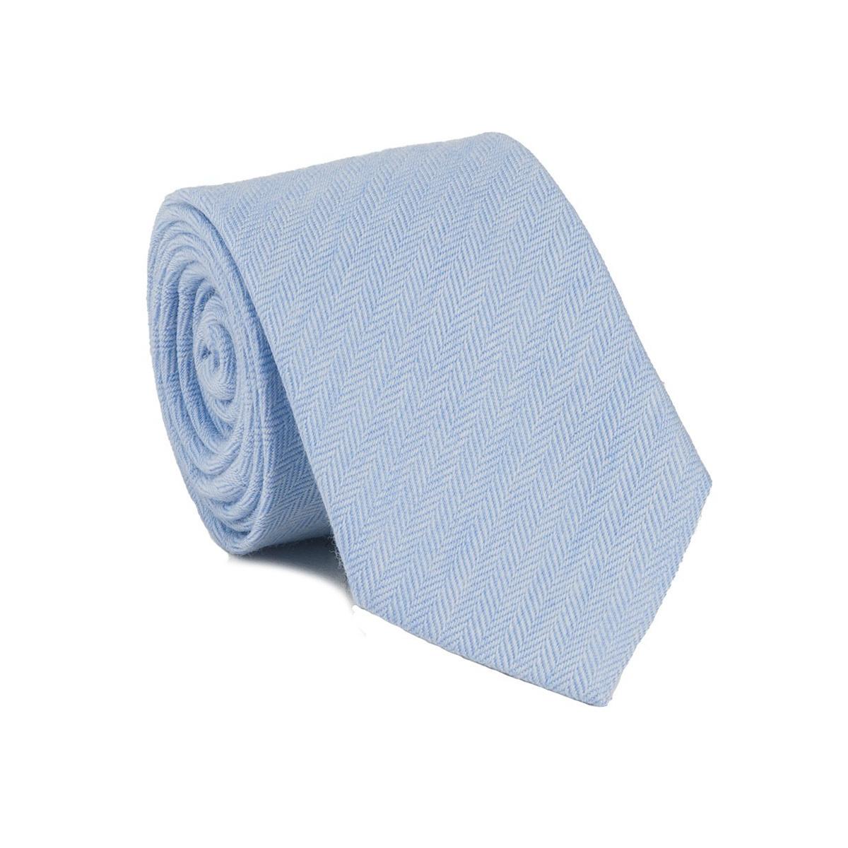 chevron light blue tie 70 wool and 30 silk