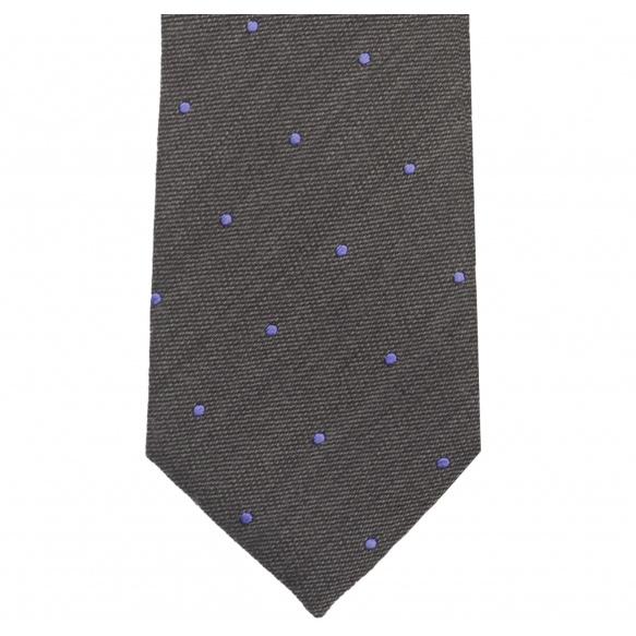 Grey Tie with Blue Polka-Dots