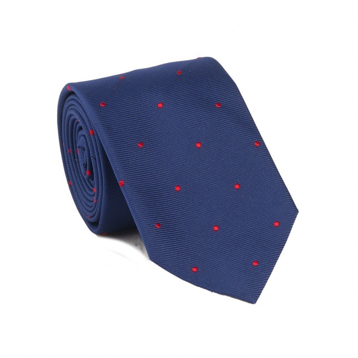 BLUE RED SPOT TIE
