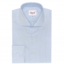 Extra-Slim Blue Shirt with Green Stripe