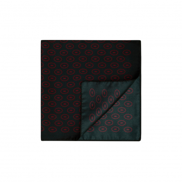 GREEN POCKET-SQUARE WITH RED DESIGN