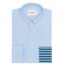 Chemise Casual Bleu à Poche Rayée Bleue
