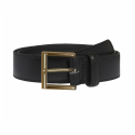Black Leather Belt With Gold Buckle