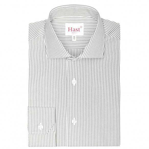 Chemise extra-ajustée rayée gris
