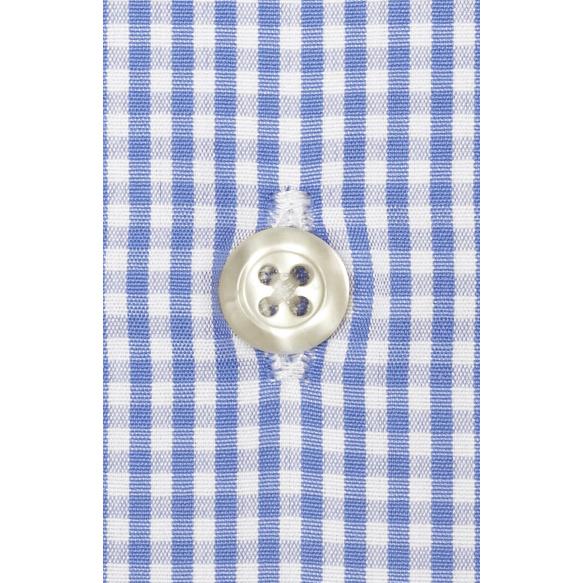 Chemise extra-ajustée vichy bleu à col français