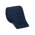 Linen blue knitted tie