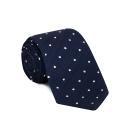 Cravate bleu à pois blanc
