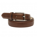 Brandy leather belt with silver buckle