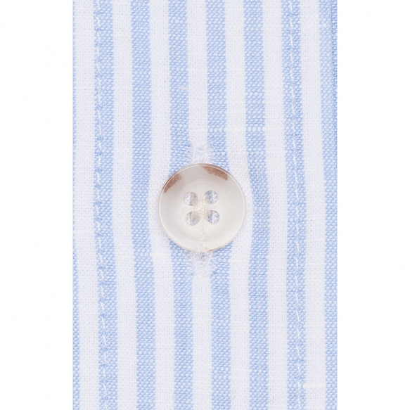 Linen-cotton blue stripe shirt