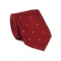 Burgundy Tie with White Polka-Dots