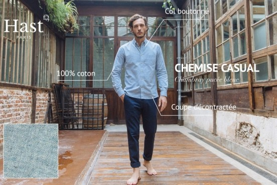 CHEMISE CHAMBRAY PUCEE BLEUE